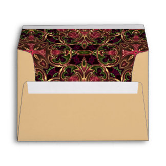 Tan with Red Tapestry Abstract Lining Envelopes