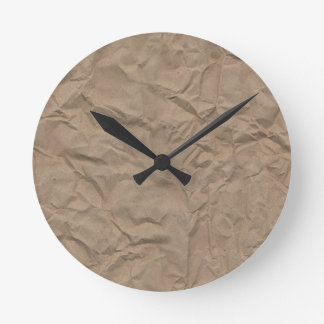 Tan Wrinkled Paper Texture Round Clock