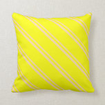 [ Thumbnail: Tan & Yellow Colored Striped/Lined Pattern Pillow ]