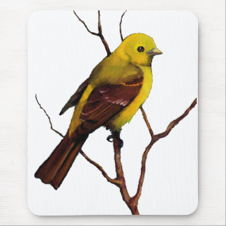 Tanager: Bird: Oil Pastel: Freehand Wildlife Art Mouse Pad