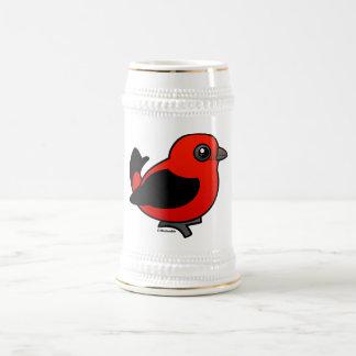 Tanager de escarlata del dibujo animado jarra de cerveza
