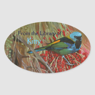 Tanager Oil Painting Custom Bookplate Sticker