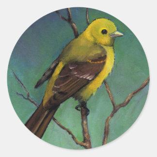 Tanager (pájaro) en el pastel del aceite, arte del pegatina redonda