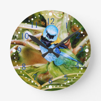 Tanager Portrait Watercolor Round Wallclocks