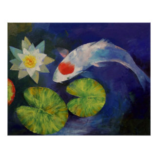 Tancho Koi and Water Lily Print