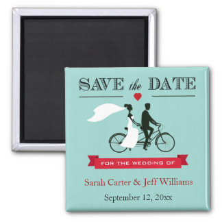 Tandem Bicycle Aqua and Red Save the Date Magnets