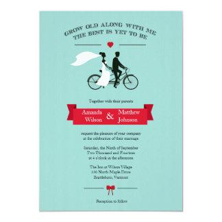Tandem Bicycle Aqua and Red Wedding Invitations