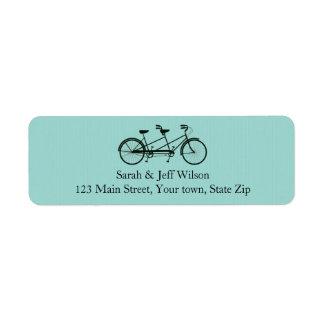 Tandem Bicycle Aqua Return Address Labels