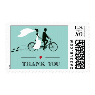 Tandem Bicycle Aqua Thank You Stamps