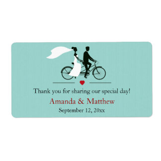 Tandem Bicycle Aqua Wedding Favor Labels