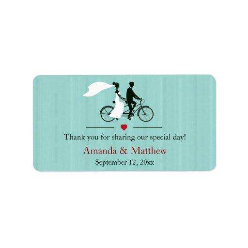 Tandem Bicycle Aqua Wedding Favor Labels