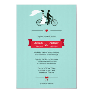 "Tandem Bicycle Aqua Wedding Invitations 5"" X 7"" Invitation Card"