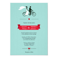 Tandem Bicycle Aqua Wedding Invitations