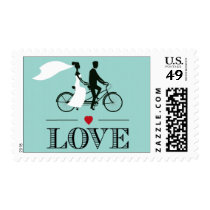 Tandem Bicycle Aqua Wedding Love Stamps