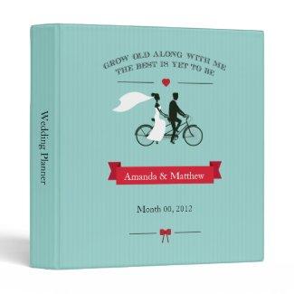 Tandem Bicycle Aqua Wedding Planner Binder