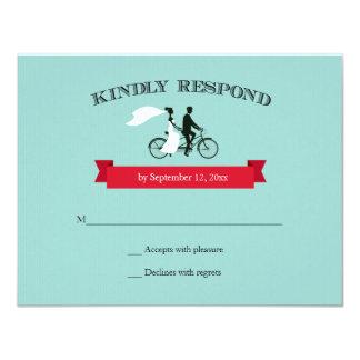 Tandem Bicycle Aqua Wedding RSVP Card