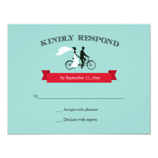 Tandem Bicycle Aqua Wedding RSVP 4.25x5.5 Paper Invitation Card