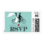 Tandem Bicycle Aqua Wedding RSVP Stamps