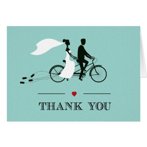 Tandem Bicycle Aqua Wedding Thank You Greeting Card