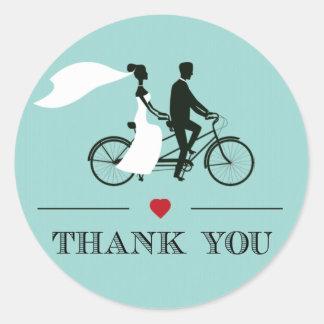 Tandem Bicycle Aqua Wedding Thank You Stickers