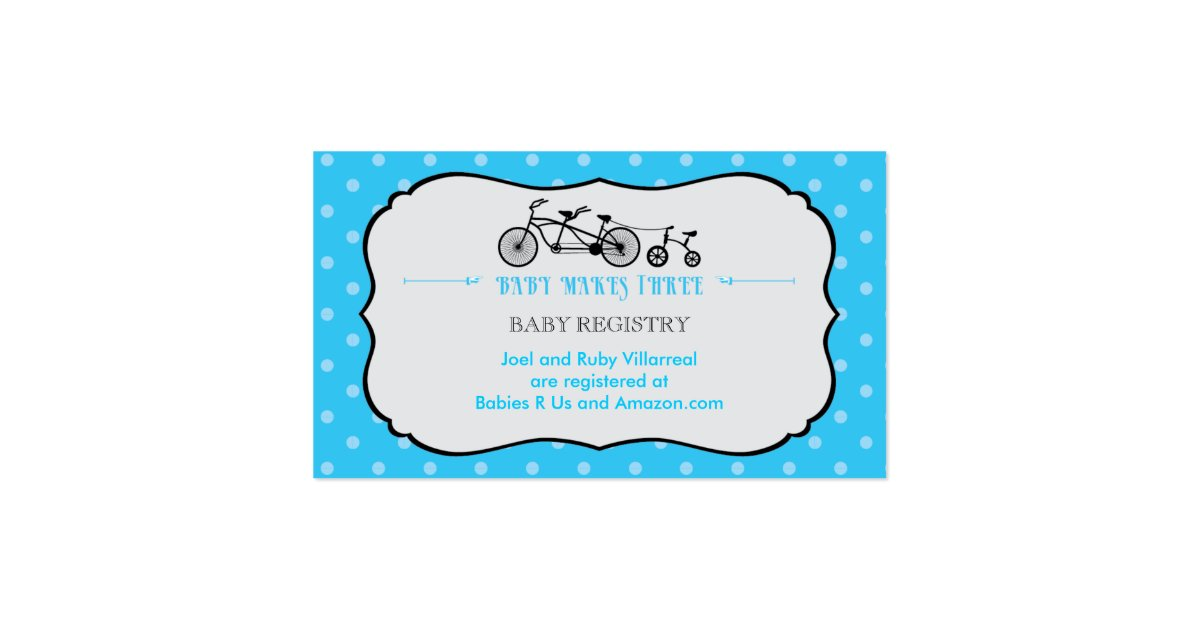 tandem bicycle baby shower registry card zazzle