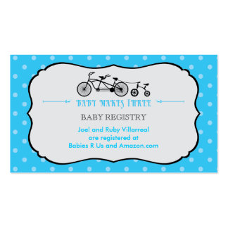 tandem bicycle baby shower registry card double sided standard