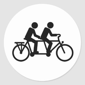 Tandem Bicycle bike Classic Round Sticker