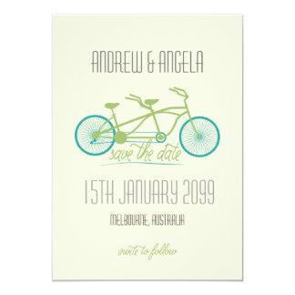 "Tandem Bicycle / Bike Modern Wedding Save the Date 5"" X 7"" Invitation Card"