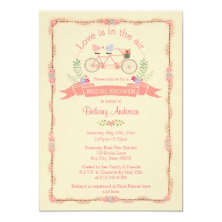 Tandem Bicycle, Birds and Banner Bridal Shower Card