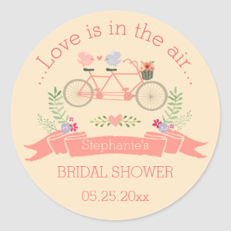 Tandem Bicycle, Birds and Banner Bridal Shower Classic Round Sticker