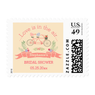 Tandem Bicycle, Birds and Banner Bridal Shower Postage