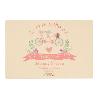 Tandem Bicycle, Birds and Banner Wedding Placemat