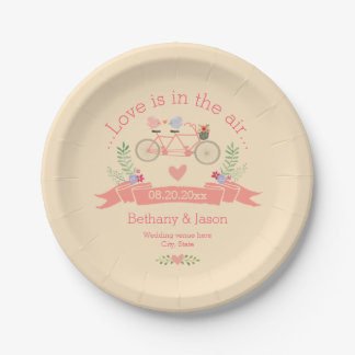 Tandem Bicycle, Birds and Banner Wedding 7 Inch Paper Plate