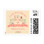 Tandem Bicycle, Birds and Banner Wedding Stamps