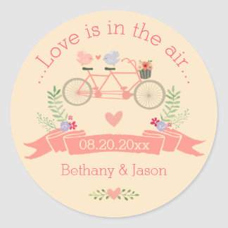 Tandem Bicycle, Birds and Banner Wedding Classic Round Sticker