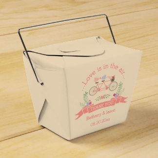Tandem Bicycle, Birds and Banner Wedding Thank You Favor Box