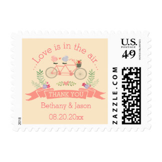 Tandem Bicycle, Birds and Banner Wedding Thank You Postage