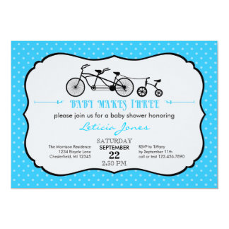 "Tandem Bicycle Boy Baby Shower Invitation 5"" X 7"" Invitation Card"
