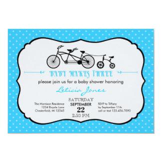 Tandem Bicycle Boy Baby Shower Invitation