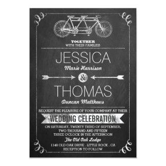 Tandem Bicycle Chalkboard Typography Wedding 5x7 Paper Invitation Card