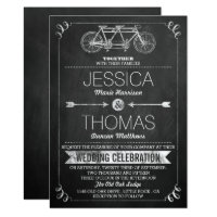 Tandem Bicycle Chalkboard Typography Wedding Card