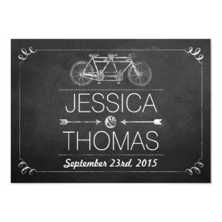Tandem Bicycle Chalkboard Typography Wedding 4.5x6.25 Paper Invitation Card