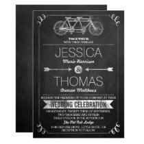 Tandem Bicycle Chalkboard Typography Wedding Invitation