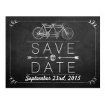 Tandem Bicycle Chalkboard Typography Wedding Postcard