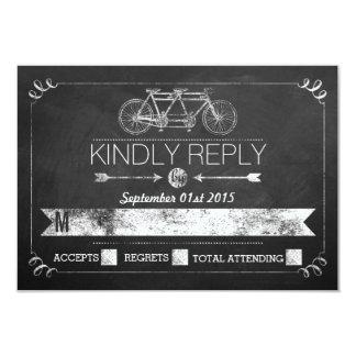 Tandem Bicycle Chalkboard Typography Wedding RSVP 3.5x5 Paper Invitation Card