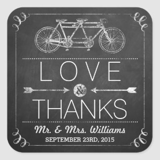 Tandem Bicycle Chalkboard Typography Wedding Square Sticker