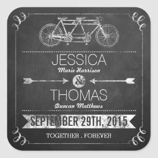 Tandem Bicycle Chalkboard Typography Wedding Square Sticker