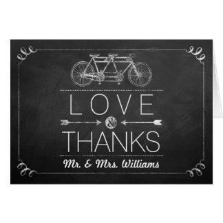 Tandem Bicycle Chalkboard Typography Wedding Stationery Note Card
