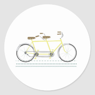 Tandem Bicycle Classic Round Sticker