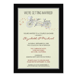 Tandem Bicycle Couple's Bridal Shower Invitation